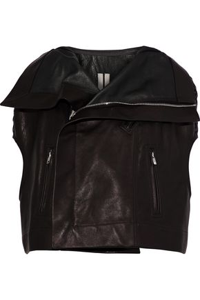 RICK OWENS Cropped textured-leather jacket
