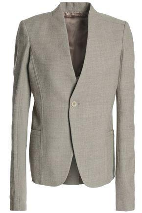 RICK OWENS Ribbed knit-paneled wool blazer