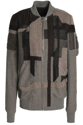 RICK OWENS Patchwork-effect wool bomber jacket