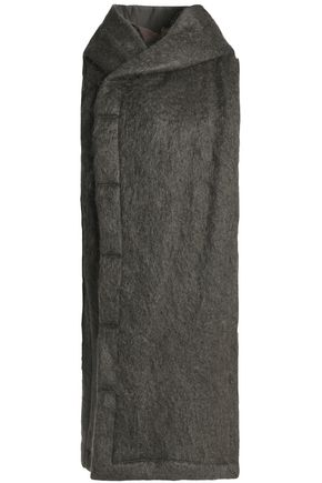 RICK OWENS Asymmetric mohair-blend hooded coat