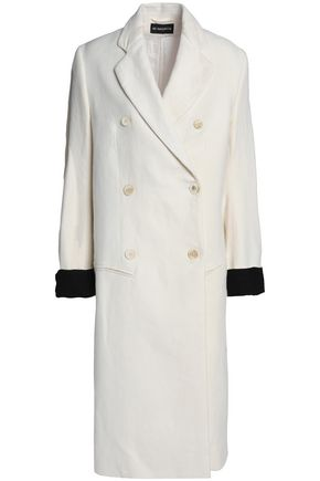 ANN DEMEULEMEESTER Two-tone linen and cotton-blend coat