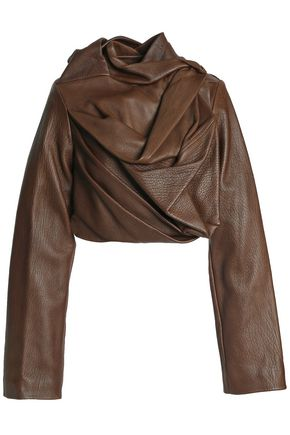 RICK OWENS Draped textured-leather jacket