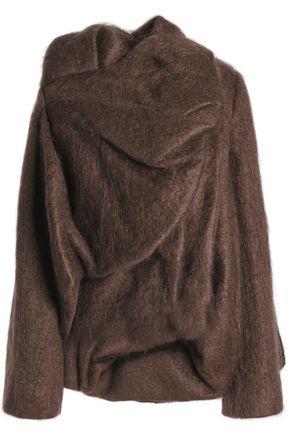 RICK OWENS Asymmetric draped mohair-blend jacket