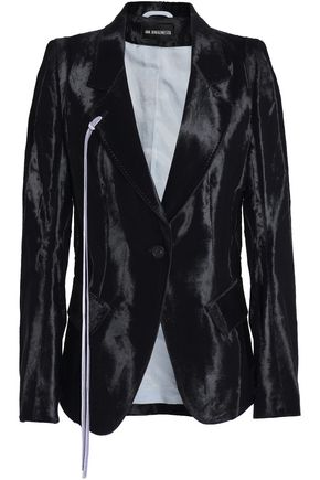 ANN DEMEULEMEESTER Draped cotton-blend velvet blazer