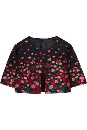 LELA ROSE Silk-blend floral-jacquard bolero