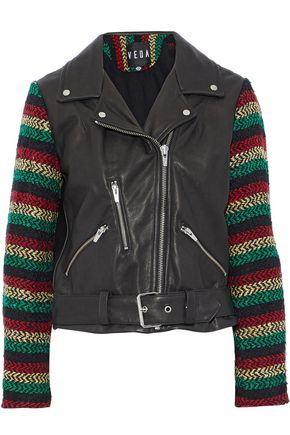 VEDA Lion tweed-paneled leather biker jacket
