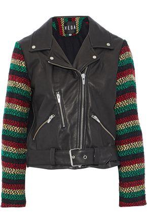VEDA Lion tweed-paneled leather biker jacket