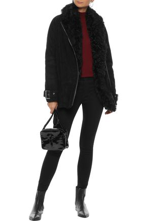 IRIS & INK Molly shearling-trimmed suede jacket