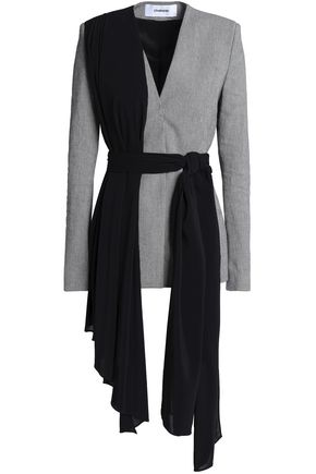CHALAYAN Draped crepe and houndstooth cotton-blend blazer