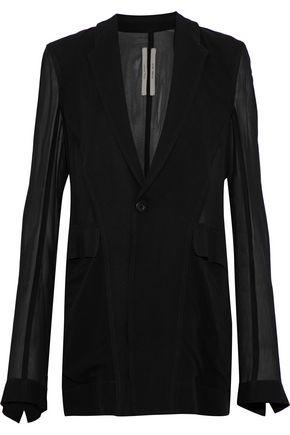 RICK OWENS Crepe-paneled silk-chiffon blazer