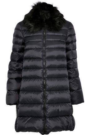 REDValentino Faux fur-trimmed quilted shell coat