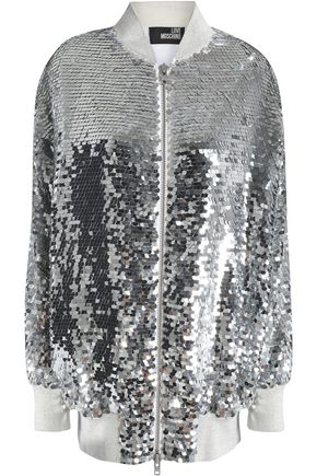LOVE MOSCHINO Sequined mesh bomber jacket