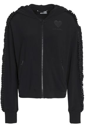 LOVE MOSCHINO Ruffle-trimmed stretch-jersey hooded jacket