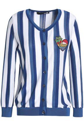 LOVE MOSCHINO Appliquéd striped cotton-blend cardigan