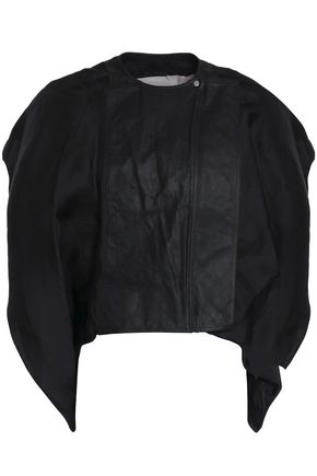 RICK OWENS Draped silk-organza and leather jacket