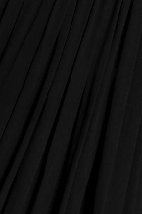 RICK OWENS Wool-paneled silk-georgette top