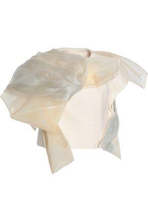 RICK OWENS Draped cotton-canvas, mesh and net jacket
