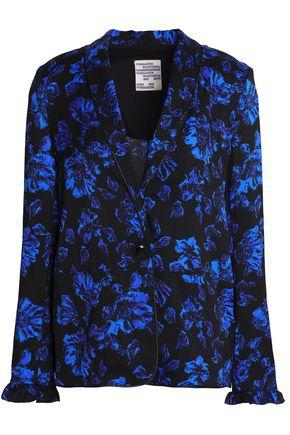 BAUM UND PFERDGARTEN Ruffle-trimmed floral-print silk-blend twill blazer