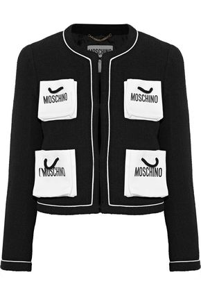 MOSCHINO Printed cotton-blend tweed jacket