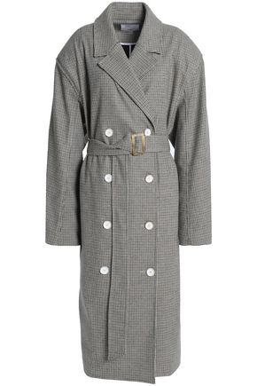TIBI Double-breasted houndstooth woven coat