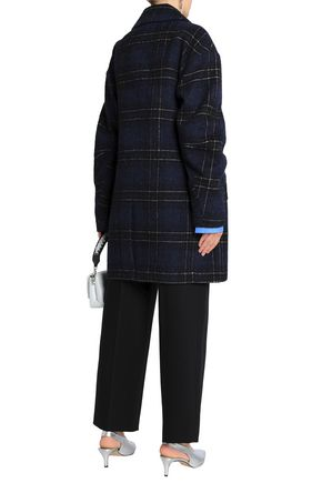 TIBI Oversized double-breasted checked wool-blend coat