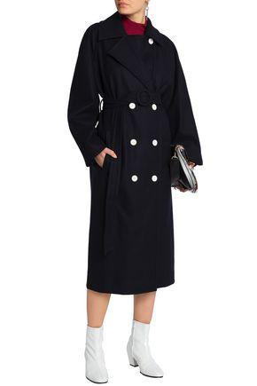 TIBI Double-breasted belted felt coat
