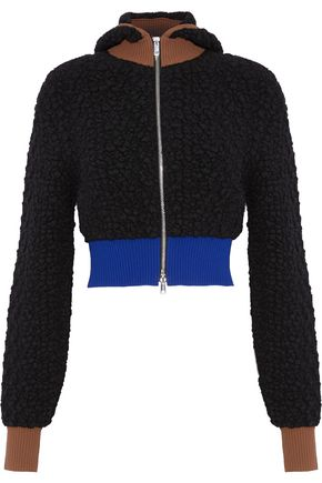 3.1 PHILLIP LIM Cropped color-block wool-blend bouclé hooded jacket