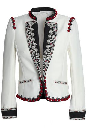 TALITHA Pompom and embroider-trimmed cotton-twill jacket