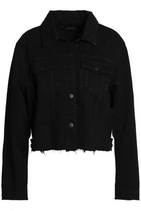 J BRAND Cropped frayed denim jacket