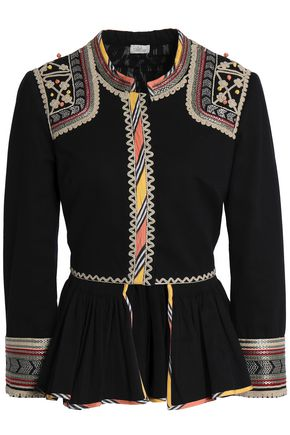TALITHA Embroidered cotton-twill peplum jacket