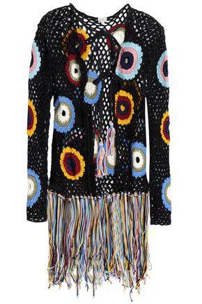 TALITHA Fringed crocheted cotton jacket