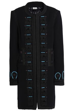 TALITHA Embroidered wool-blend felt coat