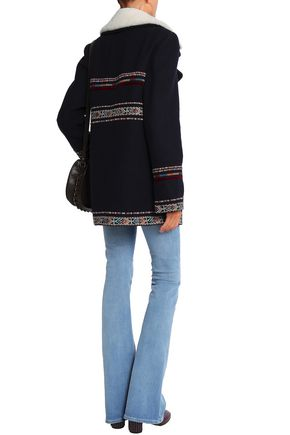 TALITHA Shearling-trimmed embroidered wool-blend jacket