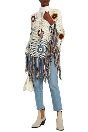 TALITHA Fringed crocheted cotton poncho