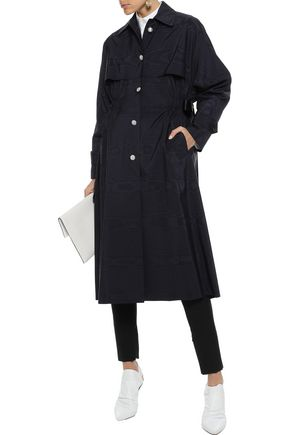 ADAM LIPPES Embellished satin-trimmed cotton-blend moire trench coat