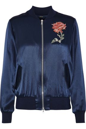 ADAM LIPPES Embroidered silk-charmeuse bomber jacket