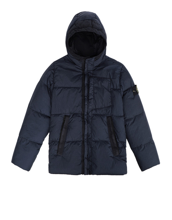 Manteau court 40133 CRINKLE REPS NY DOWN GARMENT DYED STONE ISLAND JUNIOR - 0
