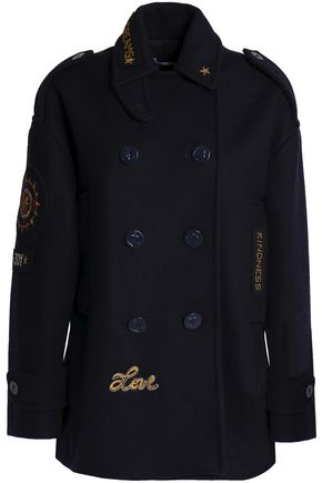 REDValentino Double-breasted appliquéd wool-blend felt coat