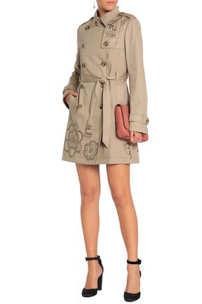 REDValentino Double-breasted studded cotton-gabardine trench coat