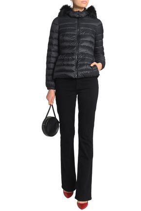 REDValentino Faux fur-trimmed quilted shell hooded jacket