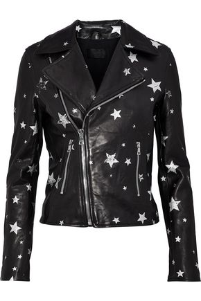 RTA Printed leather biker jacket