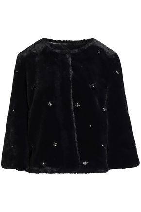 JOIE Nayland crystal-embellished faux fur jacket