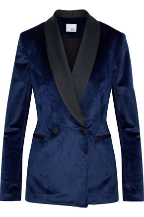 IRIS & INK Alice double-breasted satin-trimmed velvet blazer