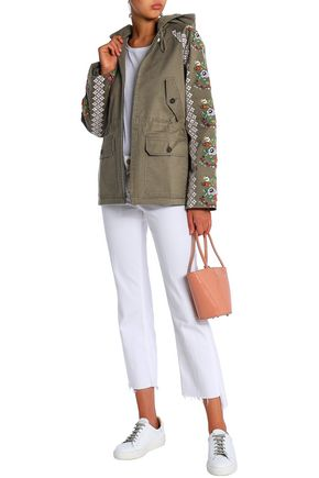 NEEDLE & THREAD Embroidered cotton-blend twill hooded jacket