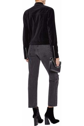 L'AGENCE Devon zip-detailed cotton-blend velvet biker jacket