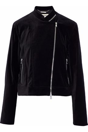 L'AGENCE Devon zip-detailed cotton-blend velvet biker jacket