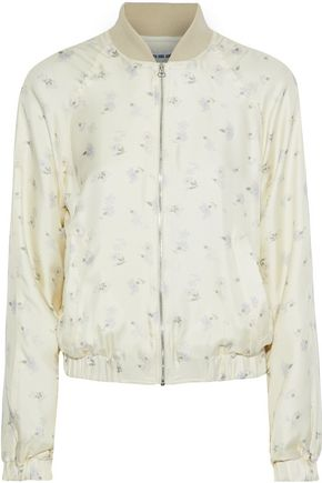 Woman Jacque Floral-Print Silk-Twill Bomber Jacket Cream
