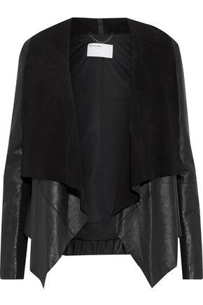 MUUBAA Ribbed-knit paneled leather jacket