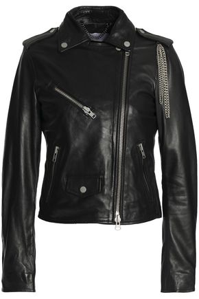 MUUBAA Chain-embellished leather biker jacket