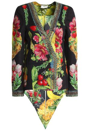 CAMILLA Call Me Carmen embellished printed crepe de chine jacket
